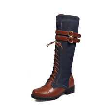 Women Fashion Knight Warm Lace Up Punk Martin Boots Knee High Shoes Plus Size