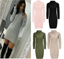 LADIES Long Sleeve Cowl Polo Neck Cable Knitted Jumper MINI DRESS SIZE 8-22
