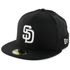"New Era 59Fifty San Diego SD Padres ""Trucker"" Fitted Hat (Black) Men's MLB Cap"