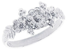 Women 925 Sterling Silver Rhodium Plated, Machine Cut Flower Ring Band
