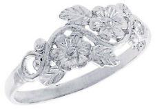 Women 925 Sterling Silver Rhodium Plated, Machine Cut Floral Vine Ring Band