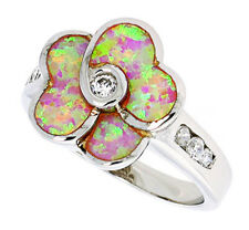 Women Sterling Silver Rhodium Plated Pink Opal Flower Ring CZ stone Accents 16mm