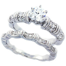 Women Sterling Silver Rhodium Plated Vintage 2Pc Engagement Ring Bridal Sets 7mm