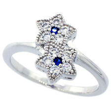 Fine Women 925 Sterling Silver Rhodium Plated Vintage Flower Ring Band 15mm