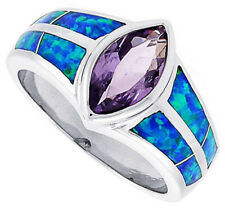 Fine Women Silver Rhodium Plated Opal Inlay Ring Marquise Violet Purple CZ 11mm