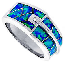 Fine Women 925 Sterling Silver Rhodium Plated Simulated Opal Inlay Ring 9mm Band