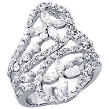 Fine Women 925 Sterling Silver Rhodium Plated, Double Butterfly Ring Band