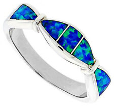 Fine Women 925 Sterling Silver Rhodium Plated Simulated Opal Inlay Ring 5mm Band