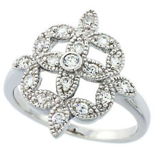 Fine Women 925 Sterling Silver Rhodium Plated, Vintage Style Flower Ring 18mm
