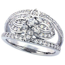 Fine Women 925 Sterling Silver Rhodium Plated, Vintage Style Ring Band 12mm