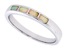 Fine Women 925 Sterling Silver Rhodium Plated Simulated Opal Inlay Ring 4mm Band