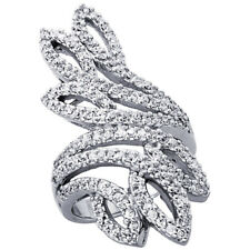 Fine Women 925 Sterling Silver Rhodium Plated, Leaf Cut Outs Ring Band