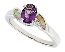 Fine Women Silver Rhodium Plated Opal Inlay Ring Oval Shape Violet Purple CZ 9mm