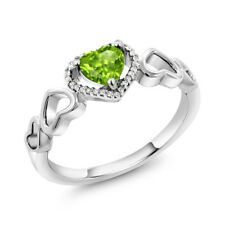 10K White Gold 0.70 Ct Heart Shape Green Peridot with Diamond Accent Ring