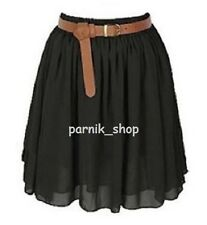 PR Women Chiffon Short Mini Skirt Lining Pleated Retro Elastic Waist Hot Skirt