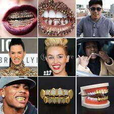 Halloween Joker 18k Gold Plated Mouth Teeth Caps Grill Up & Bottom Grills Set