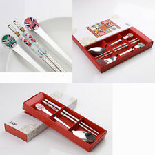 3/2 Pcs Tableware Set Stainless Steel Spoon Fork Chopsticks Chinese Style