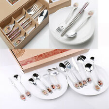 3/12Pcs Tableware Set Stainless Steel Spoon Fork Chopsticks Chinese Style