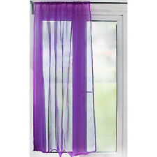 Slot Top Sheer Voile Curtain Panel – 59 inch Width – Purple – Ready Made