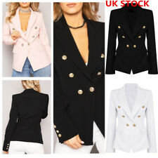 Women Formal Double Breasted Coat Tops Ladies Long Sleeve Business Suit Jacket
