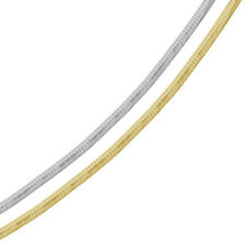 Men Women 4mm Silver Italian Necklace 14K Gold Plated 2 Tone Flat Omega Chain