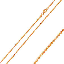 Men Women 1.7mm Silver Italian Necklace 14K Rose Gold Plated Edge Rolo Chain