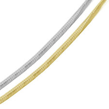 Men Women 6mm Silver Italian Necklace 14K Gold Plated 2 Tone Flat Omega Chain