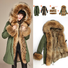 Women's parka Large Raccoon Fur Collar Cuff Hooded Coat Detachable Rabbit Liner