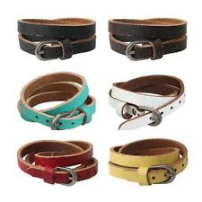 Leather Fashion Stud Bracelet Bangle Wristband With Buckle Women Men Casual