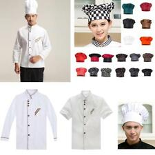 Chefs Jacket White Kitchen Coat Cooks Short/Long Sleeve Coat Chef Hat Choices