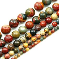 """Colorfully Natural Picasso Jasper Round Beads 15"""" 4 6 8 10mm"""