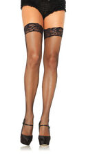 One Size Fits Most Womens Stay Up Lycar Fishnet W/ Lace Top Thigh Hi