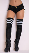 One Size Fits Most Womens Athletic Ribbed Thigh Highs, 3 Stripe Thigh High