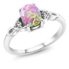 1.12 Ct Oval Cabochon Pink Simulated Opal White Diamond 925 Sterling Silver Ring