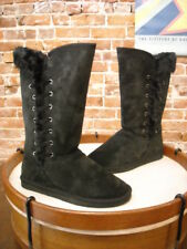 LAMO Black Suede Robyn Lace Detail Tall Faux Fur Boots NEW