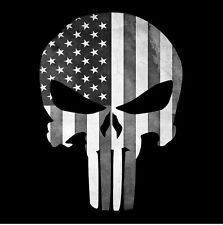 PUNISHER SKULL AMERICAN FLAG BLACK WHITE STICKER DECAL USA MADE BUY 2GET 3RDFREE