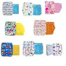 2PCS Baby Infant Cloth Diaper One Size Reusable TPU Nappy Covers Inserts
