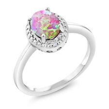 1.06 Ct Oval Cabochon Pink Simulated Opal White Diamond 925 Sterling Silver Ring