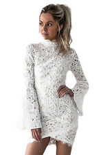 High Quality Womens Sexy White Crochet Lace Shell Bell Sleeve Mini Dress