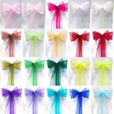 10/50/100 pcs Organza Chair Cover Sash Wide Bow Wedding Party Banquet Decoration