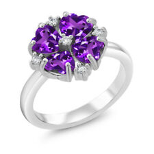 1.68 Ct Heart Shape Purple Amethyst 925 Sterling Silver Fashion Right-Hand Ring