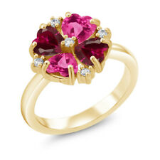 2.48Ct Pink Created Sapphire Red Created Ruby 18K Yellow Gold Plated Silver Ring
