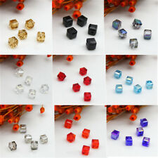 4mm/6mm Faceted Loose Glass Cube Square Crystal DIY 10Pcs Spacer Beads