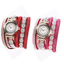 Bracelet Wrist Watch Women Vintage Quartz Crystal Rhinestone Dial Analog 1Pcs