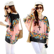 Fashion Batwing Sleeve Loose  Blouse Sexy  Stylish Lady Chiffon Round Neck