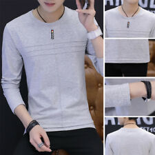 Casual Solid color T-Shirt Cotton T Shirt Men's T Shirt Round neck Long Sleeve