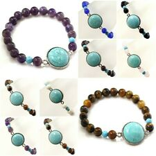 "Natural Stone and Blue Howlite Turquoise Pendant Stretch Bracelet 7.5"" Gift Idea"