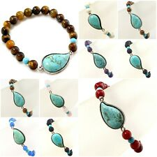 Natural Gemstone and Blue Howlite Turquoise Pendant Stretch Bracelet 7.5""