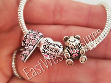 3pc New Mom Pink Baby Shoe Bootie Girl Daughter Charm set for European bracelet