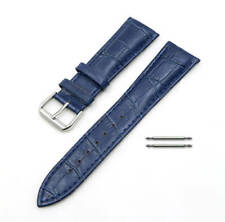 Dark Blue Croco Genuine Leather Replacement Watch Band Strap Steel Buckle